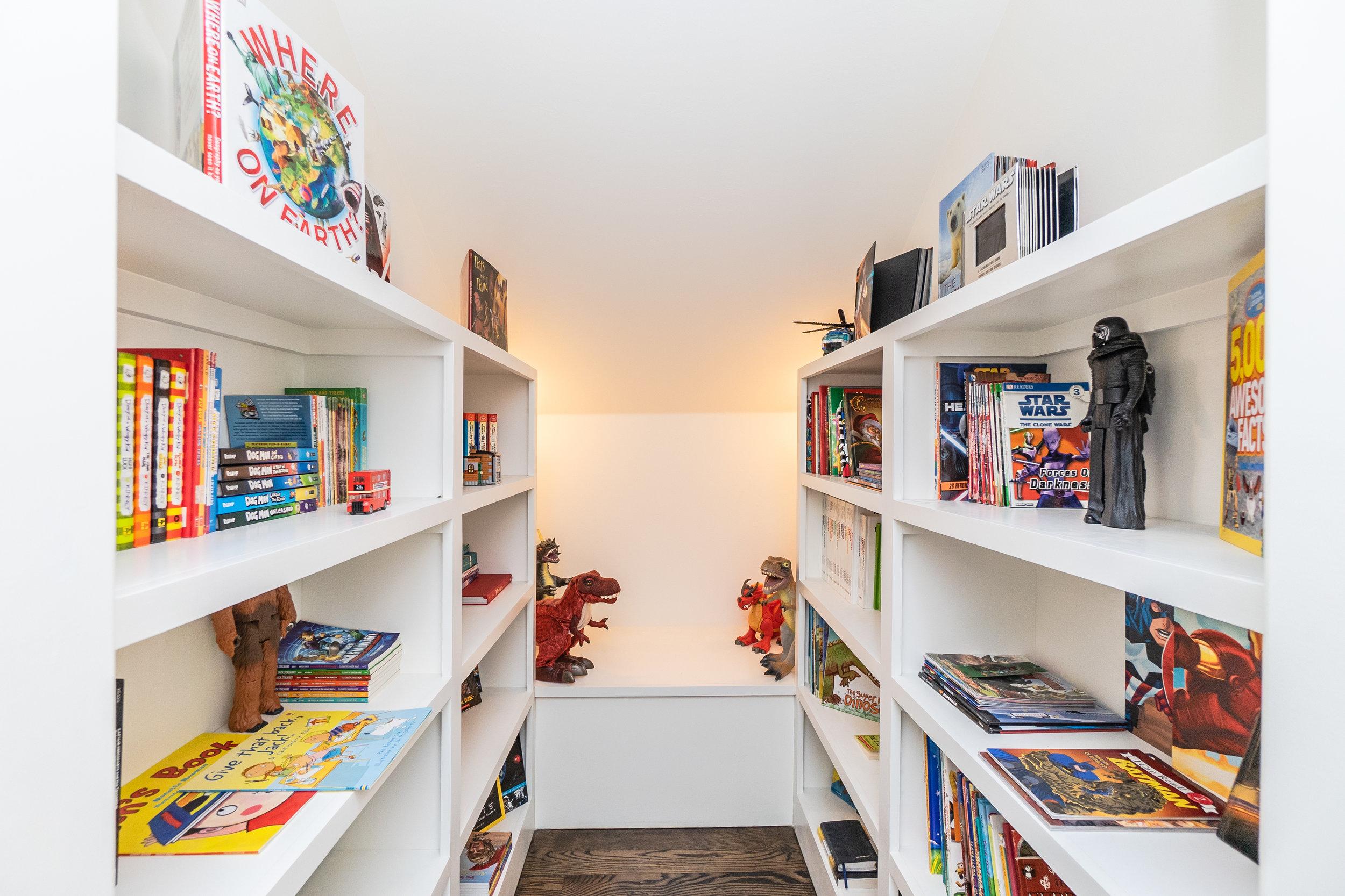 Upper level children's nook/library.