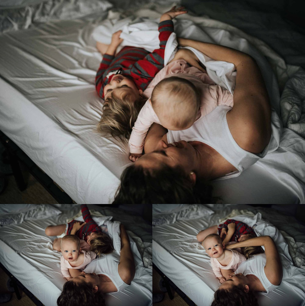 Self Portrait of a Mother and children playing in bed.  Getting into the frame with your children.