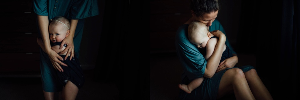 Self portrait of a Baby hugging her mama. Tips for getting in the frame with your children.