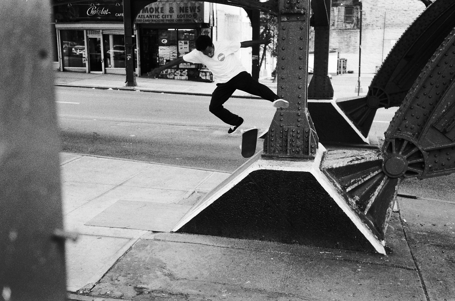 Kickflip to pivot in Harlem, NYC-Photo: Josh Stewart