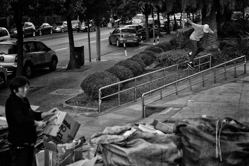 Mark back smith grinds in China / Photo by Florian Lanni