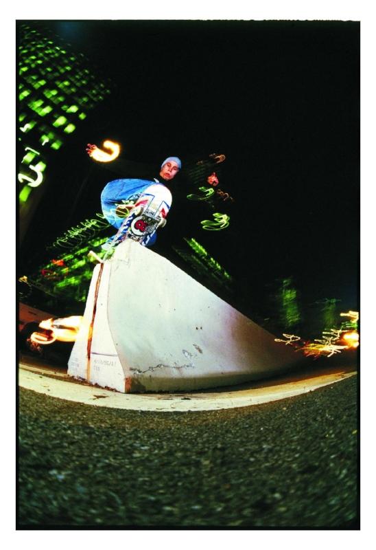 Keith Hufnagel frontside boardslide, NYC 1996
