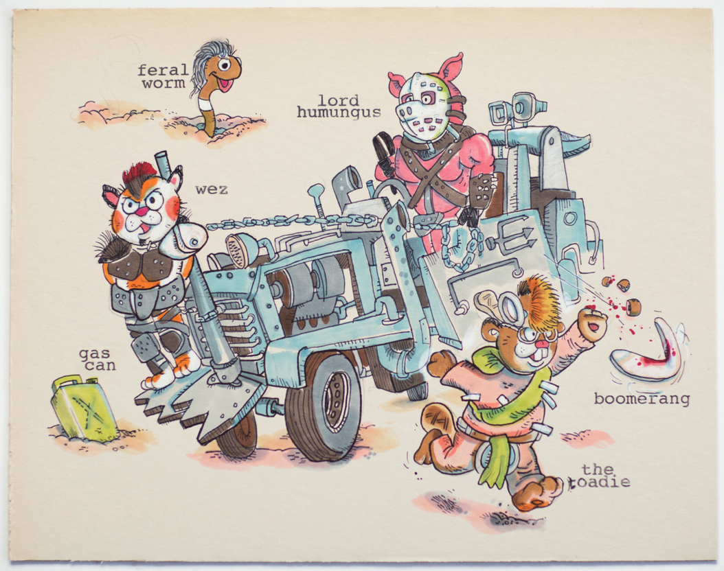 Road Warrior in the style of Richard Scarry-John McGuire