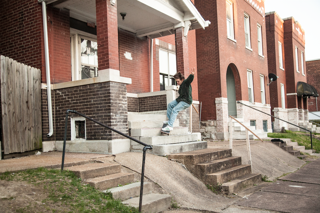 SPOT! Launch out of the bank to FS smith grind and into the second bank in St Louis. Photo: Stewart