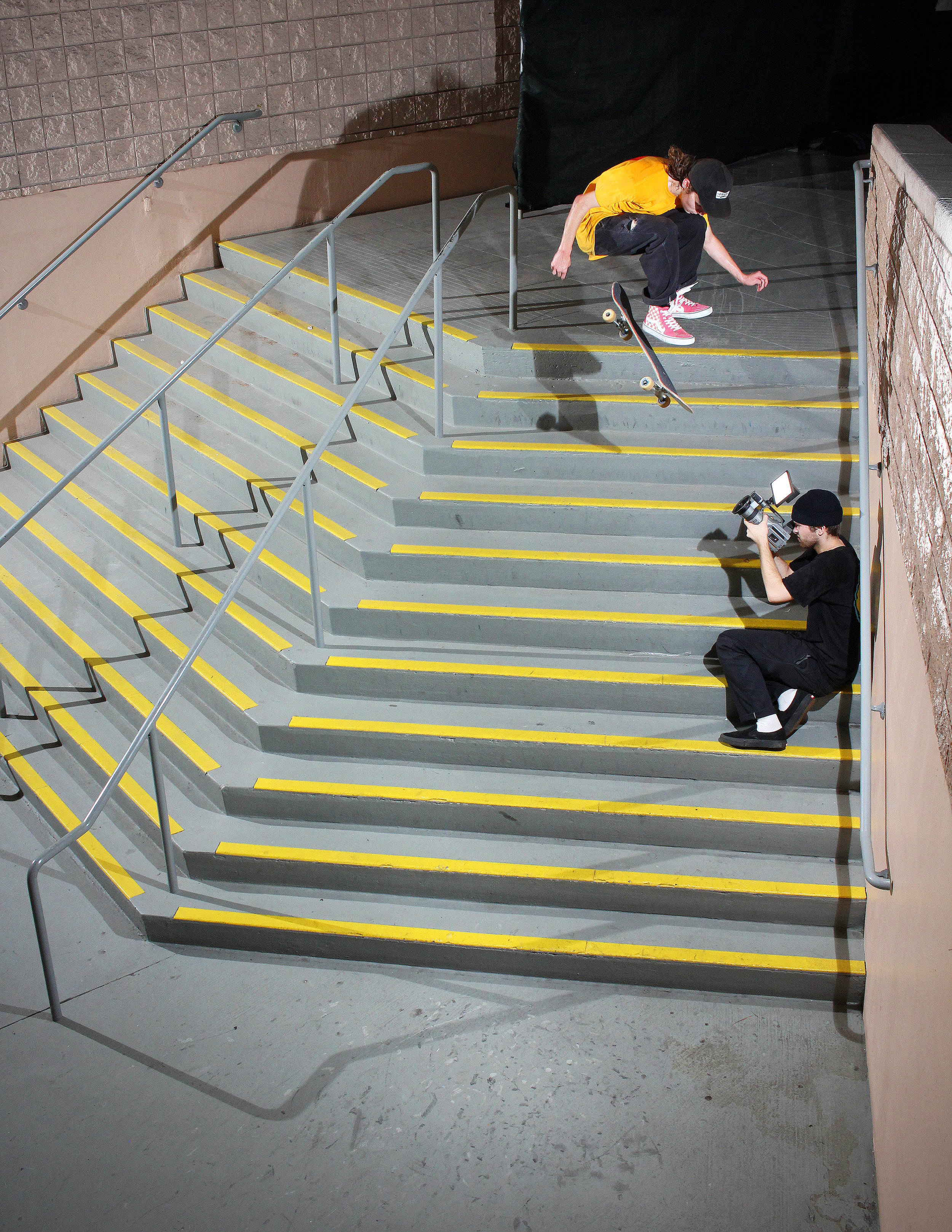 "Wesley Box front shuvs a massive set of stairs affectionally named the ""Rat Piss"" steps / Photo: Bowser"