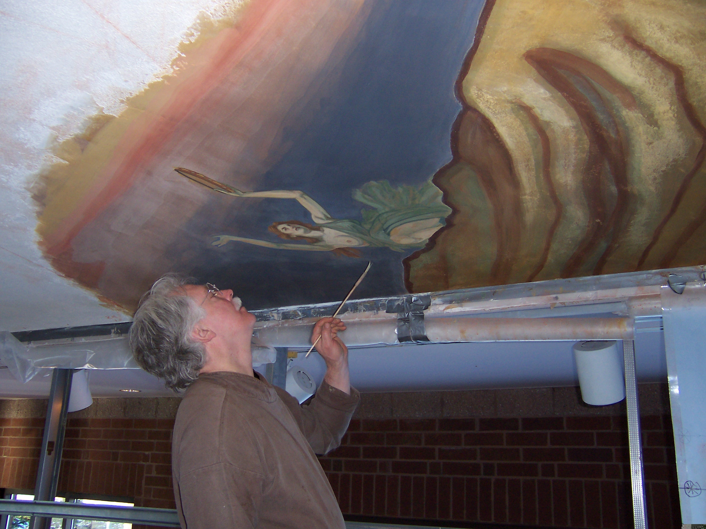 B.F.LongIV working on the Fresco in Community Center of Morganton, NC