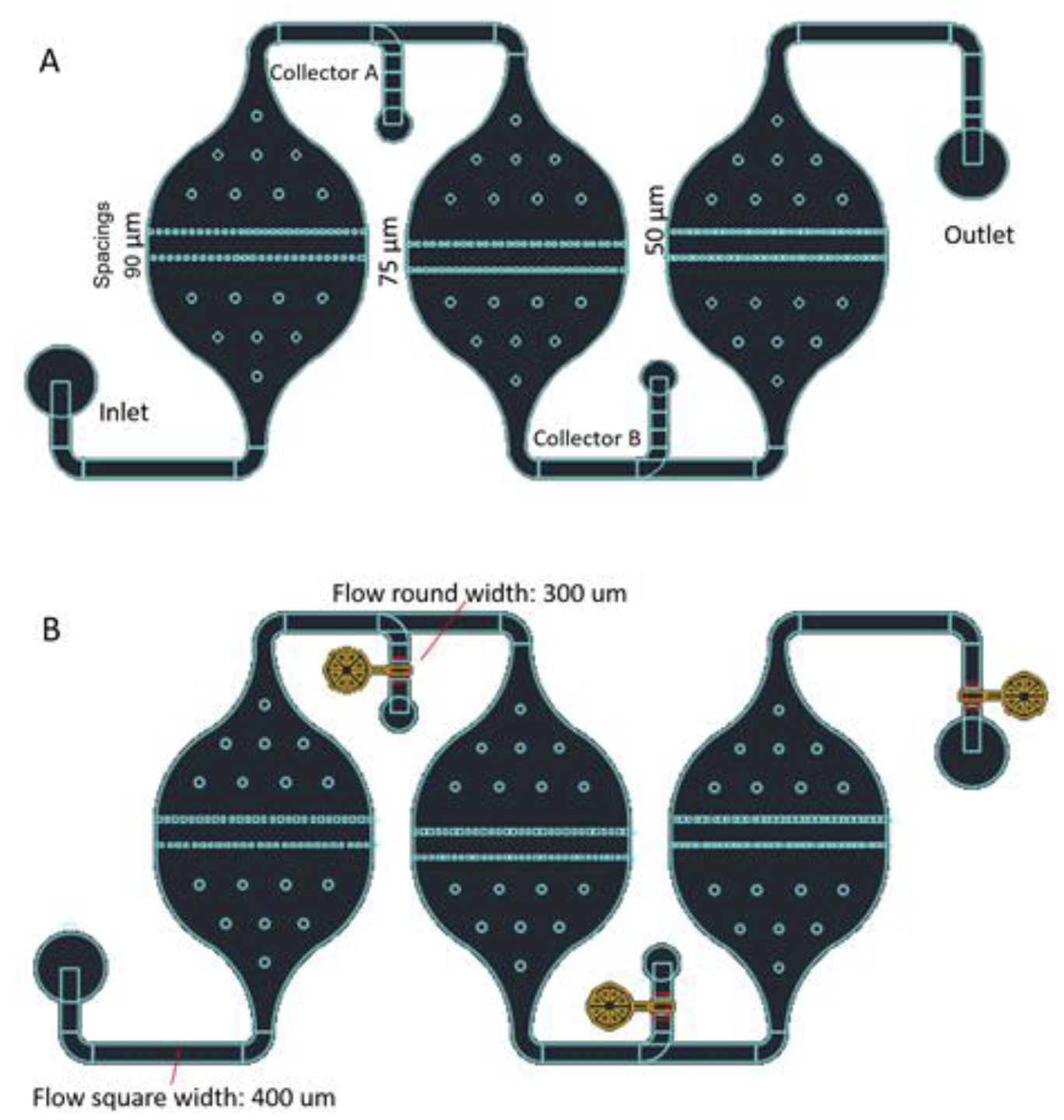 FIgure 1.  Device schematic. (A) Each separation chamber has different pillar spacings to capture cells of different sizes. (B) Integrated valves allow selective retrieval of particular cell sizes.