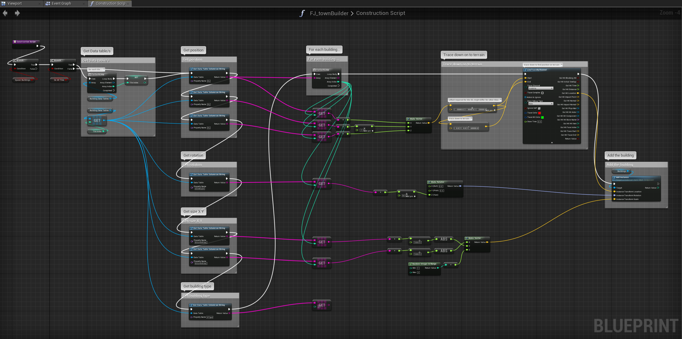 The Unreal Engine blueprint that reads the data tables and spawns each individual building.