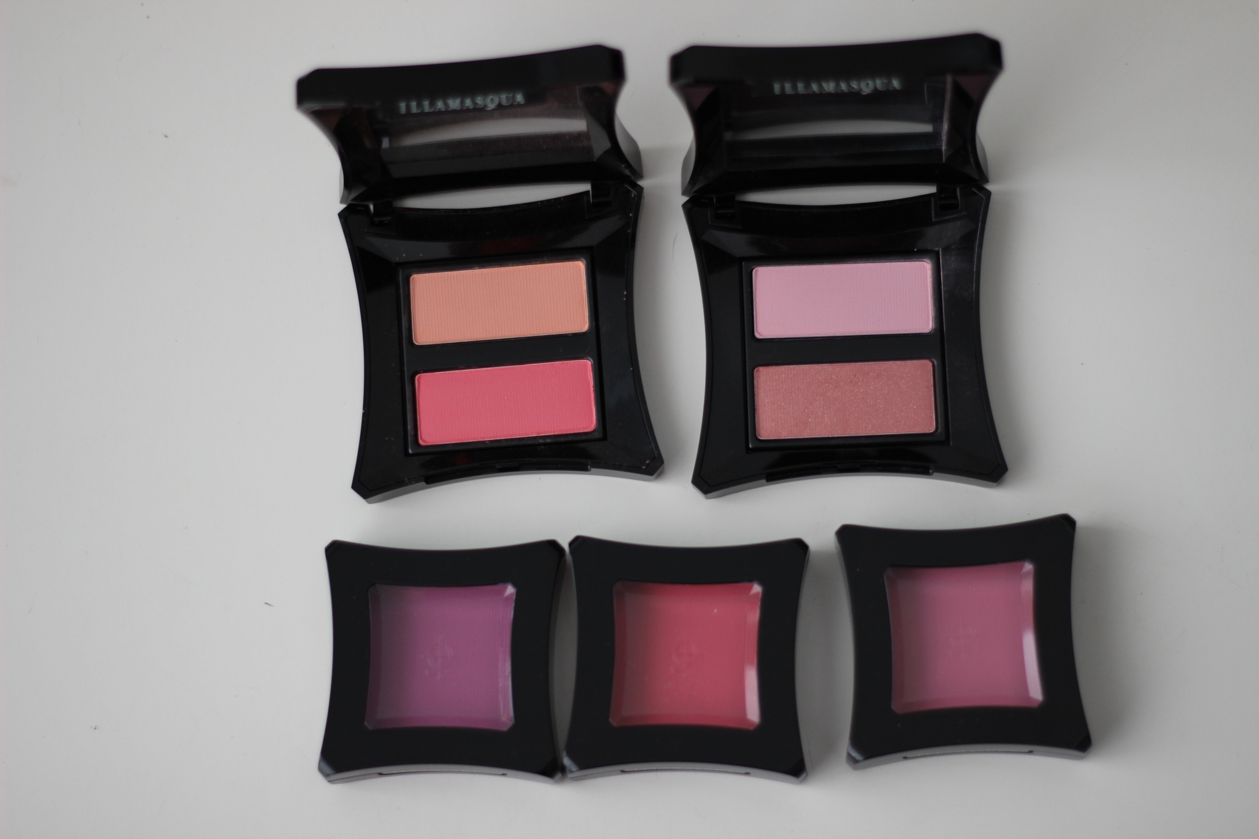 Top Left to Right Blusher Duos:  Lover/Hussy ,  Katie/Ambition   Bottom Left to Right Powder Blush:  Tweak ,  Thrust ,  Chased