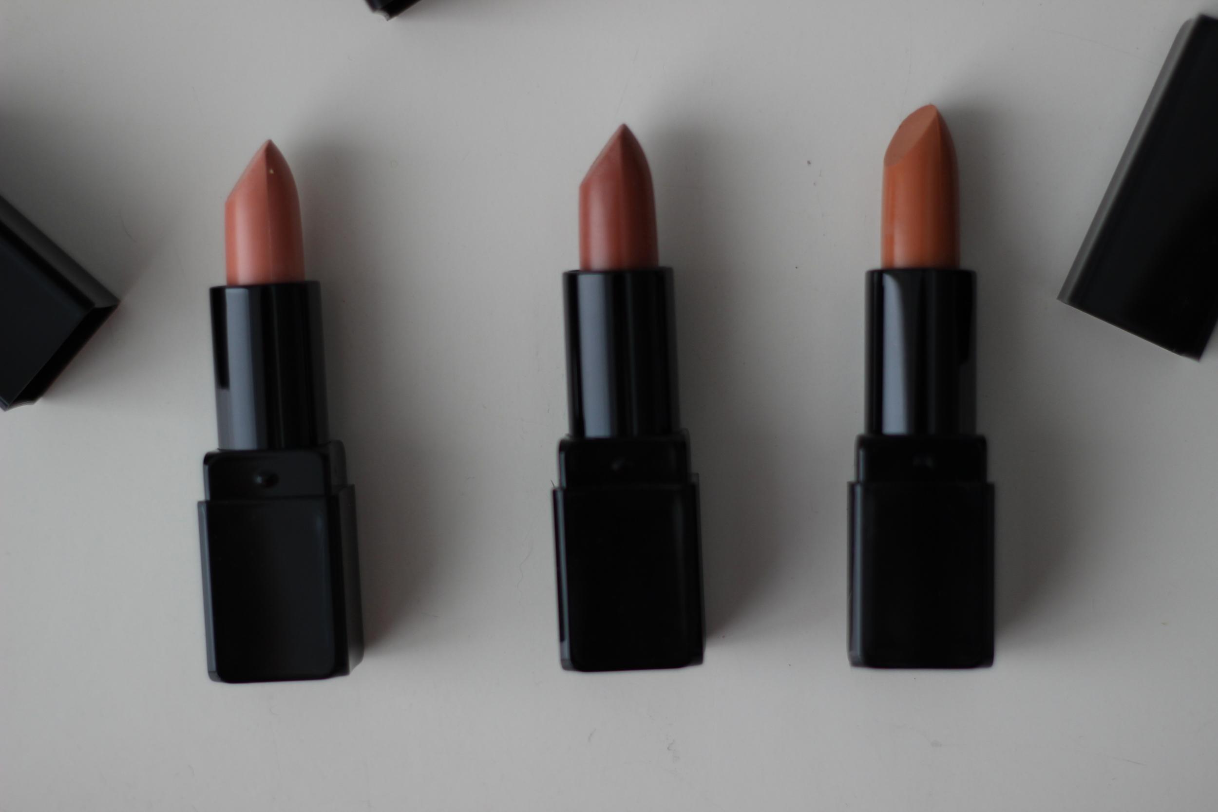 Left to Right Glamore Lipsticks:  Tease ,  Starkers ,  Naked