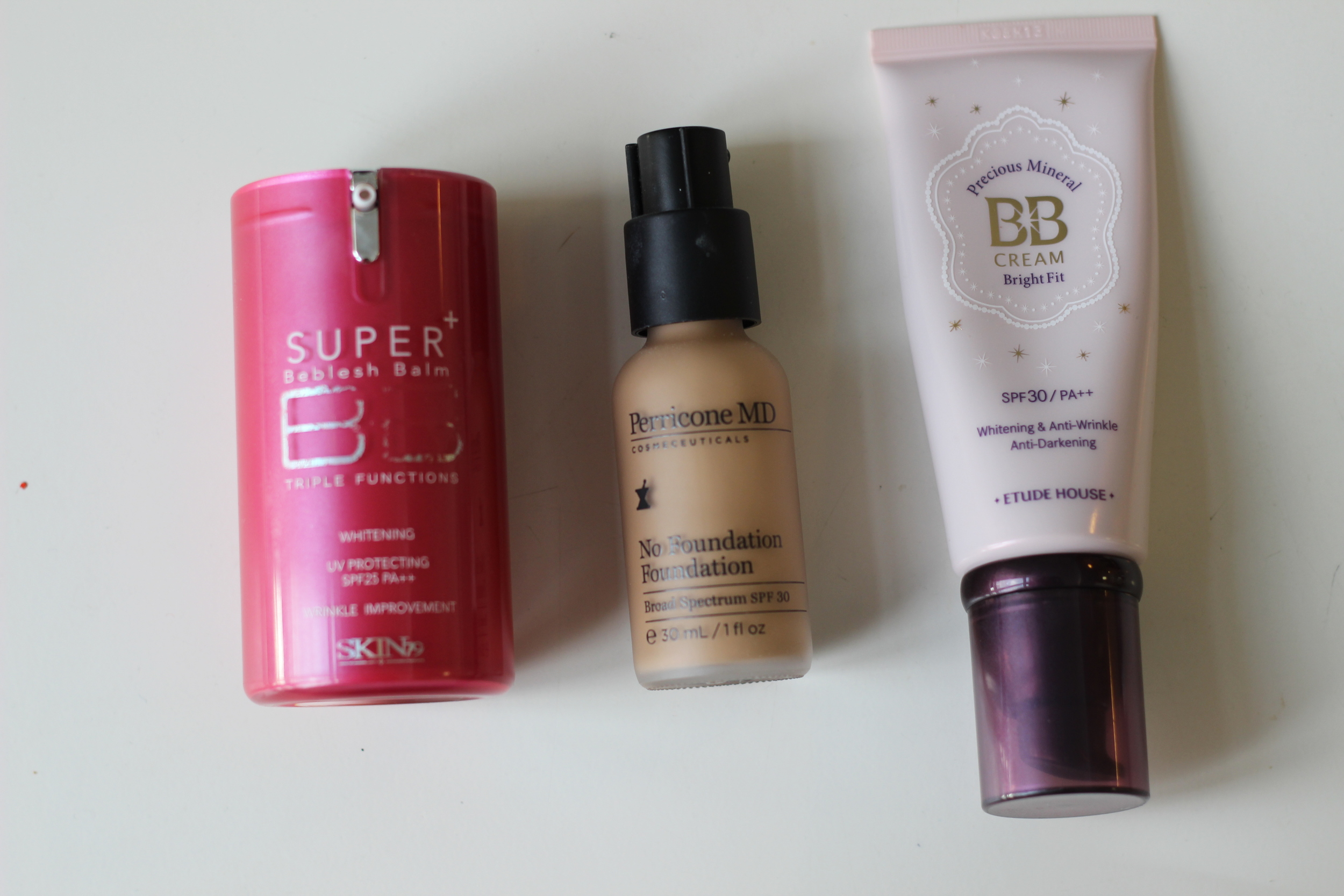 Left to Right: Skin79 BB Cream, Perricone No Foundation Foundation, and Etude House Precious Mineral BB Cream