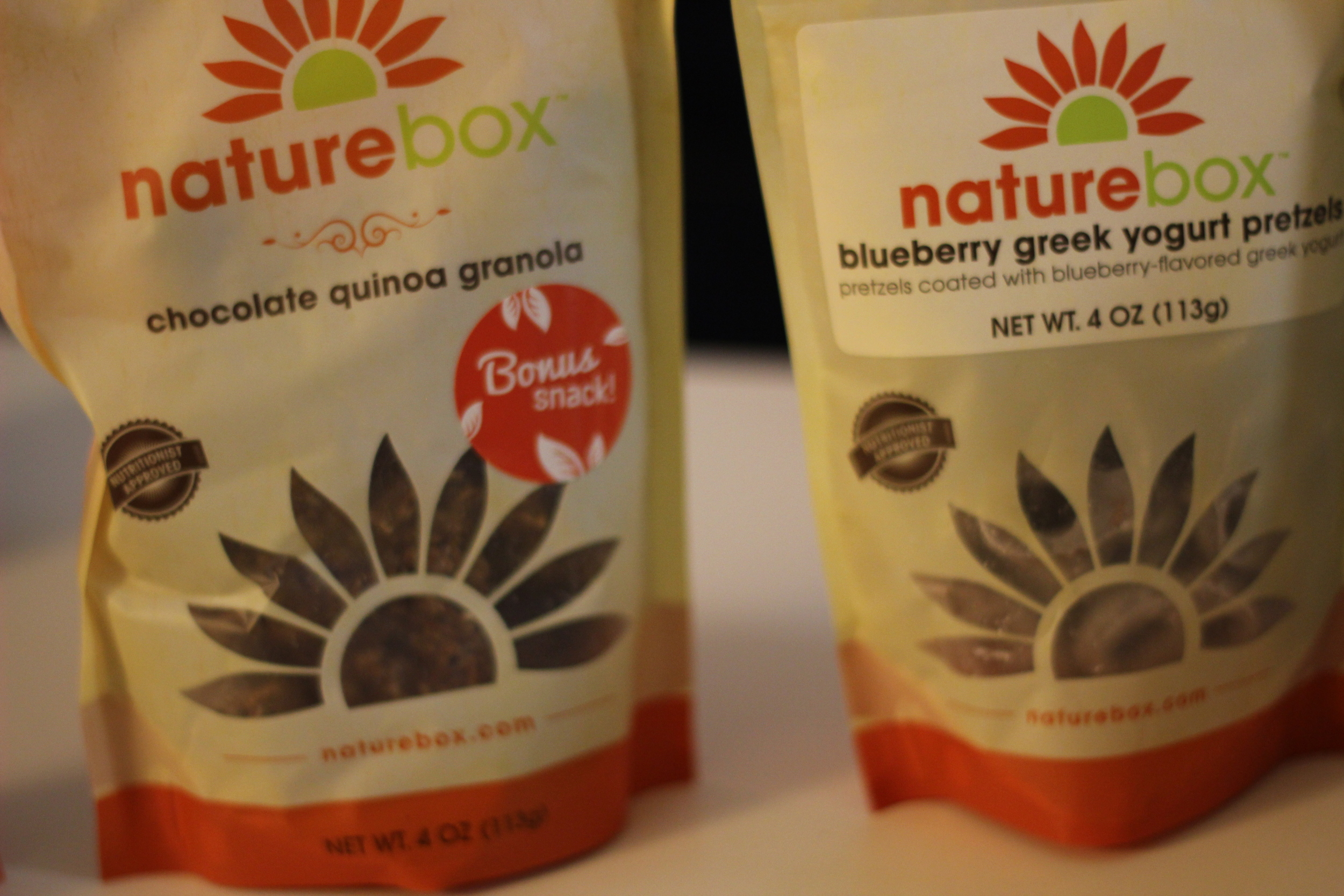 Naturebox Chocolate Quinoa Granola and Blueberry Greek Yogurt Pretzels