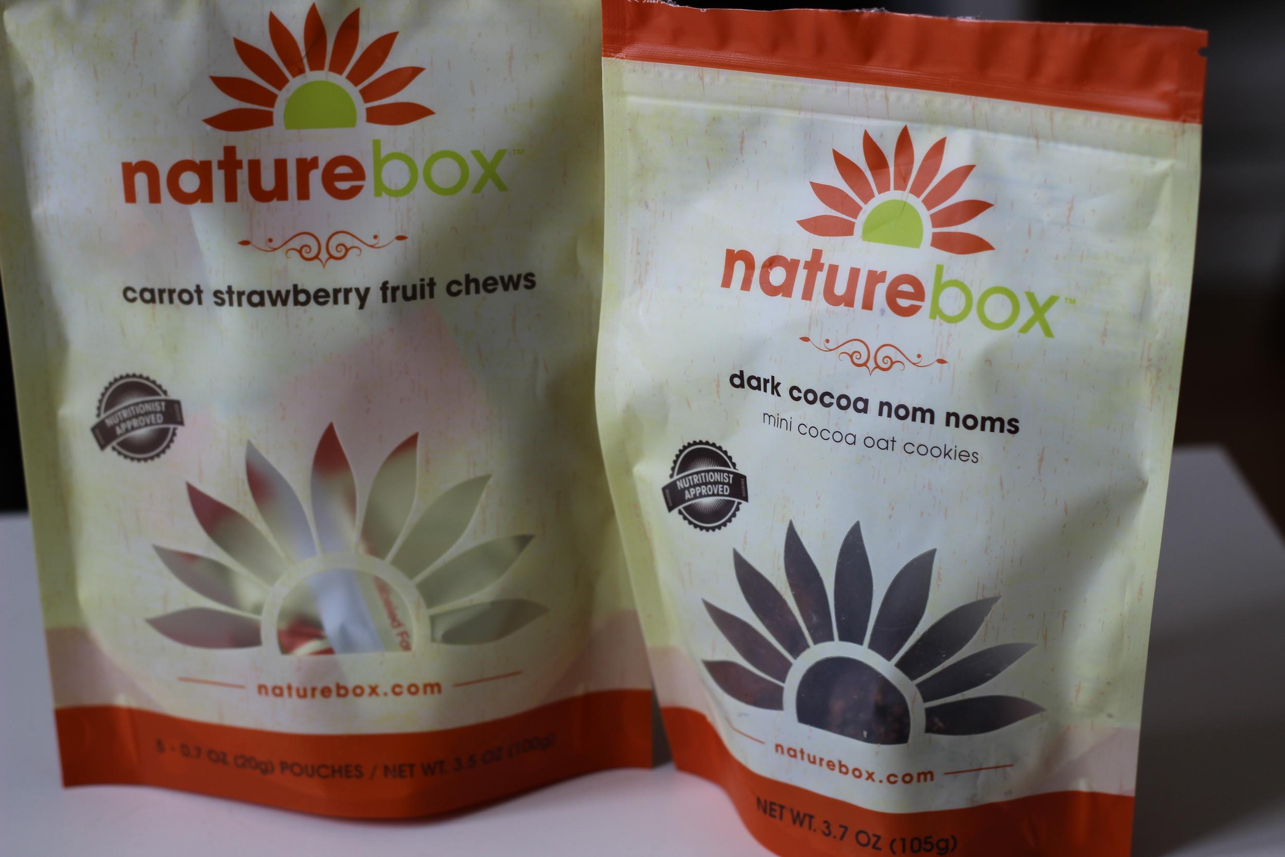 Naturebox Carrot Strawberry Fruit Chews and Dark Cocoa Nom Noms