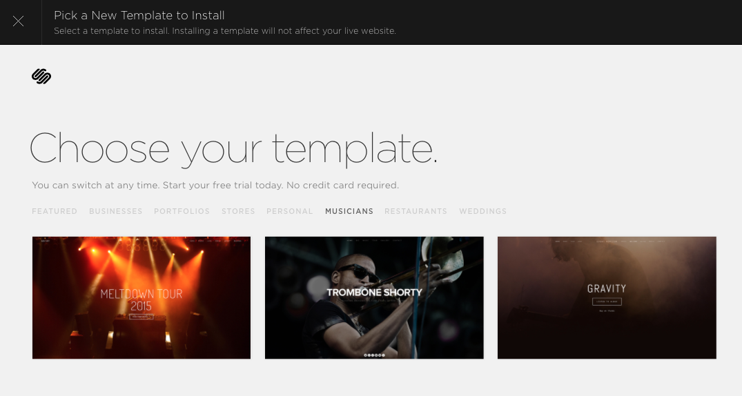 screenshot from Squarespace template chooser