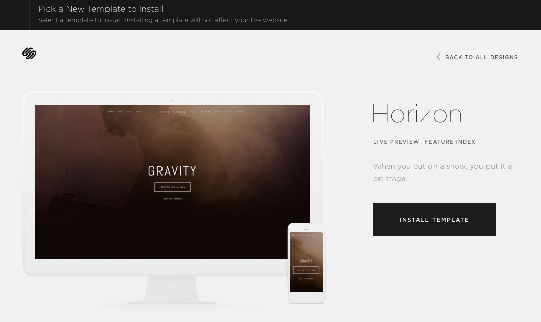 Template summary page on Squarespace
