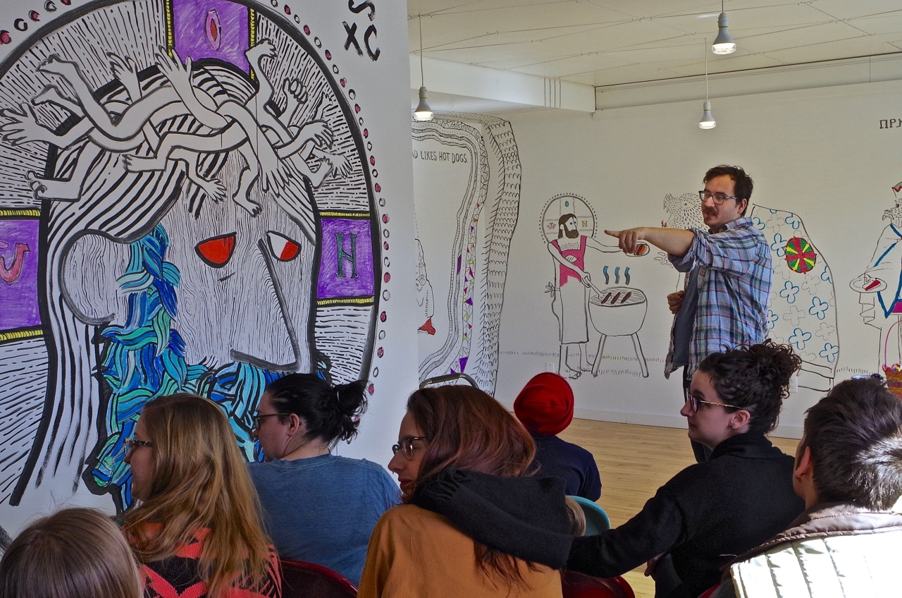 Borys gives an artist talk at his 'Sweet Jesus' opening.