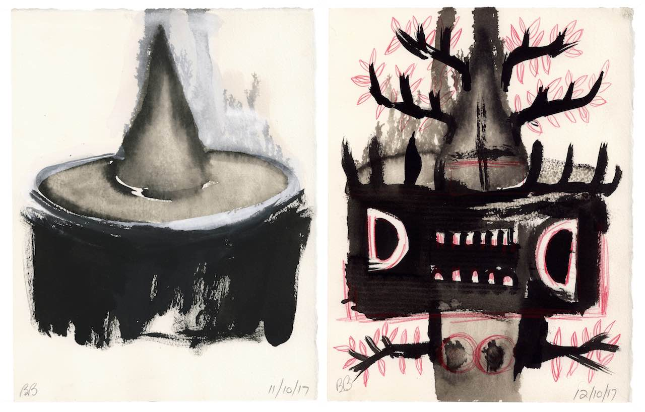 "Witch's Hat  , 2017 (11/10/17) ink and gouache on paper 11"" x 8 ½""(27.9 x 21.6 cm)  AND    When Trees Turn Into Monsters  , 2017 (11/10/17) ink and red pencil on paper 11"" x 8 ½""(27.9 x 21.6 cm)"