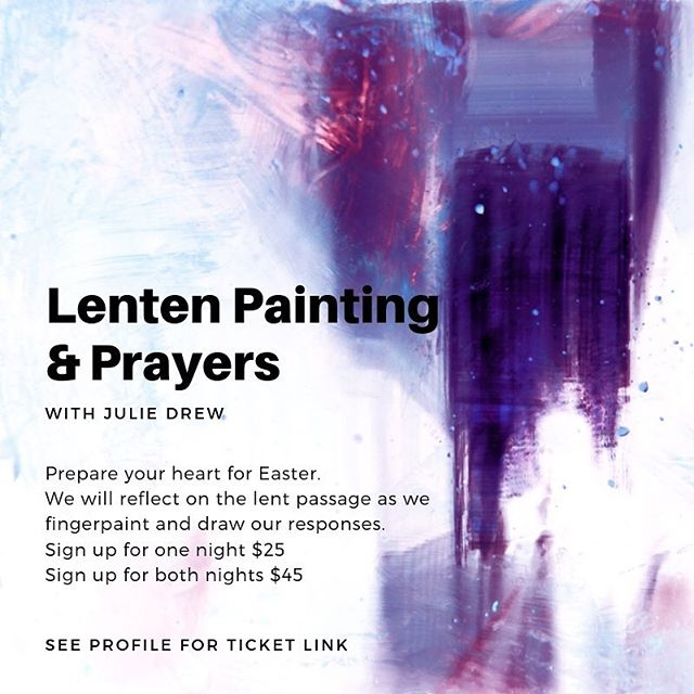 Lenten Painting & Prayers will happen March 28 & April, facilitated by artist @shedrewit_artandfaith. See our profile for ticket info. . . . #communityspace #artspace #sacredspace #yeggallery #yegart