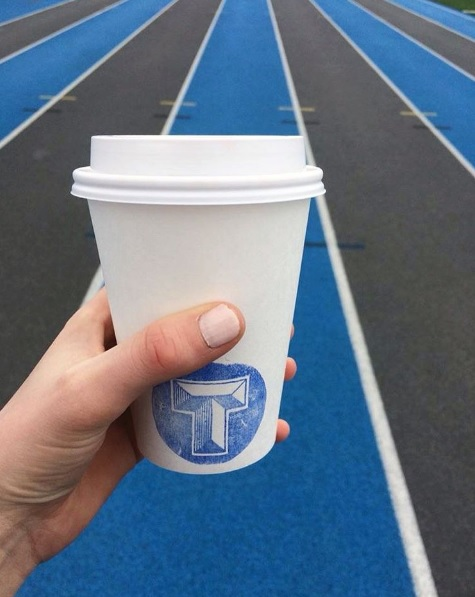 Tess enjoys some #TriumphCoffee before her track workout.
