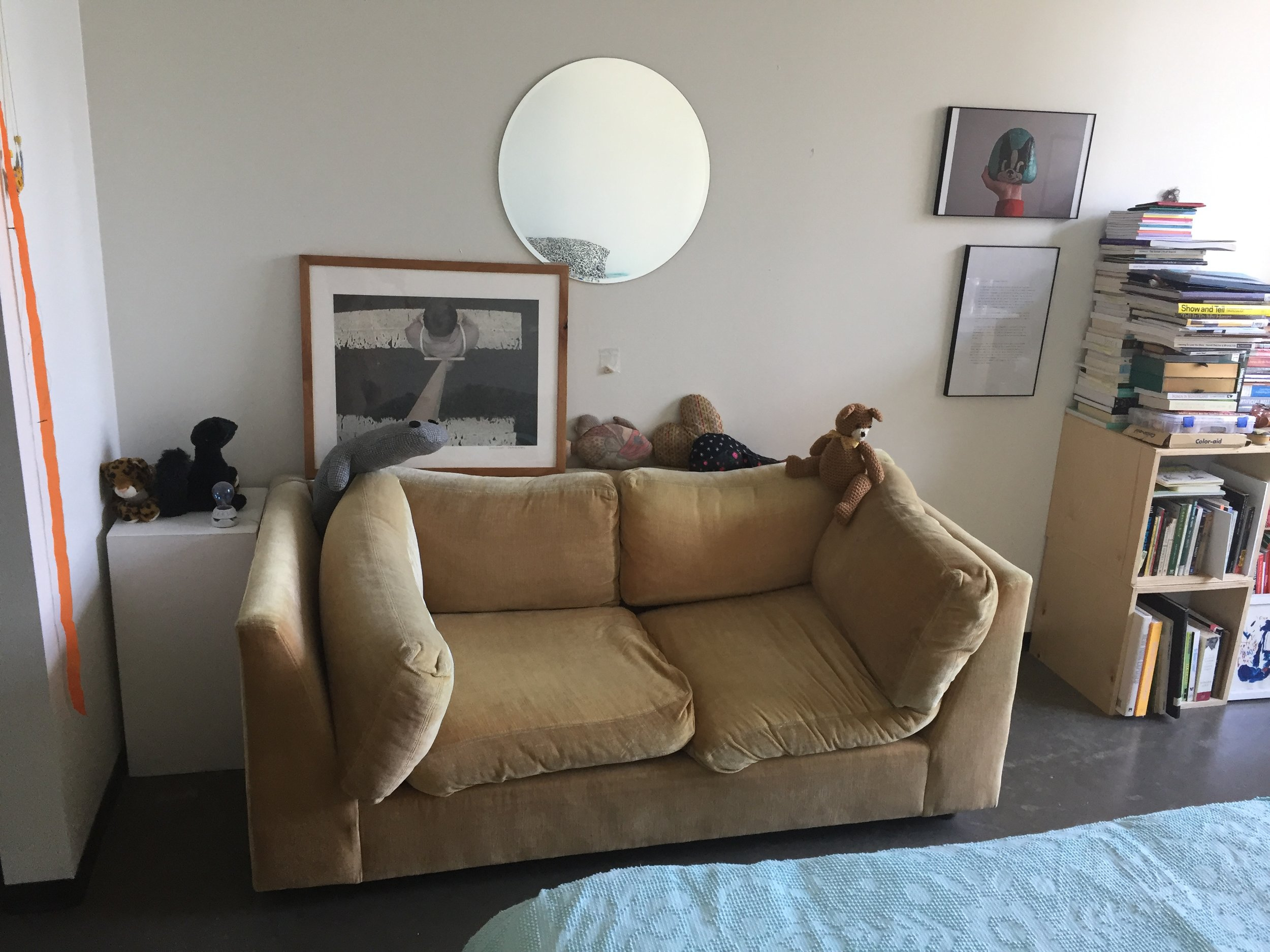 The couch while it was in my dorm room, 2014-2017.