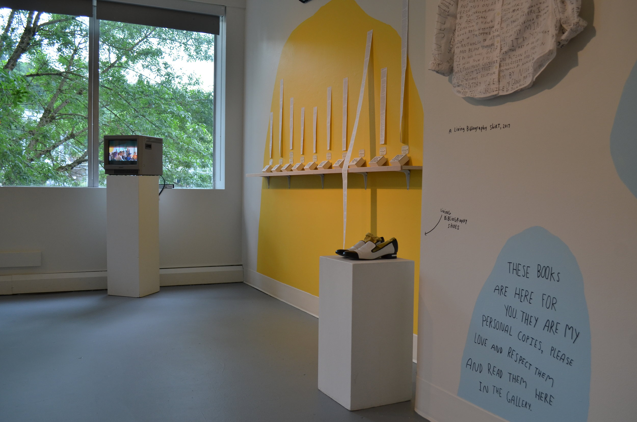 The readings were recorded, and for the rest of the exhibition, you could watch their readings on a TV in the gallery.