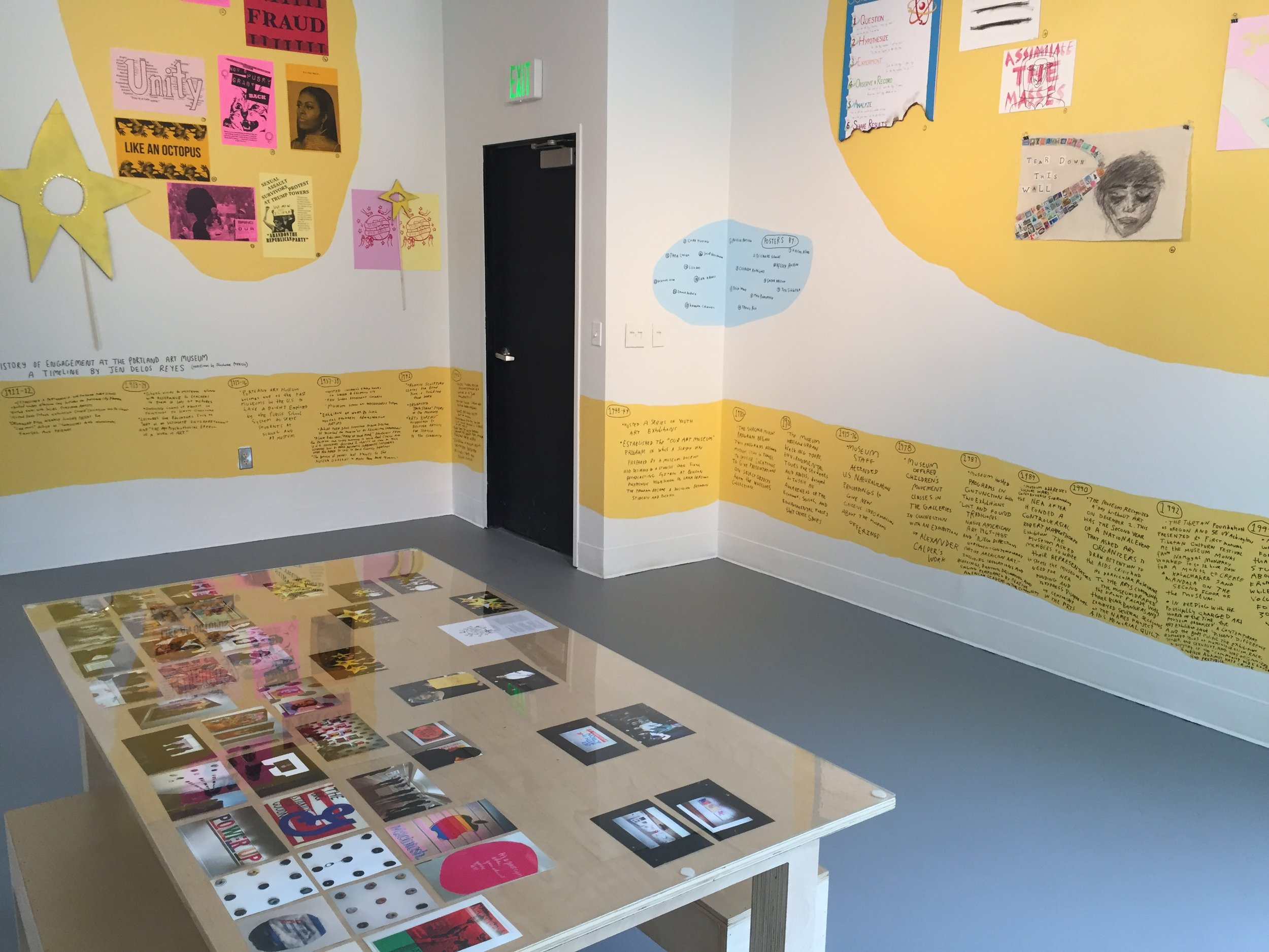 The exhibition featured a timeline of social-engagement at the Portland Art Museum, created by Jen Delos Reyes.It also featured student artwork and documentation from our time at the museum together throughout the year.