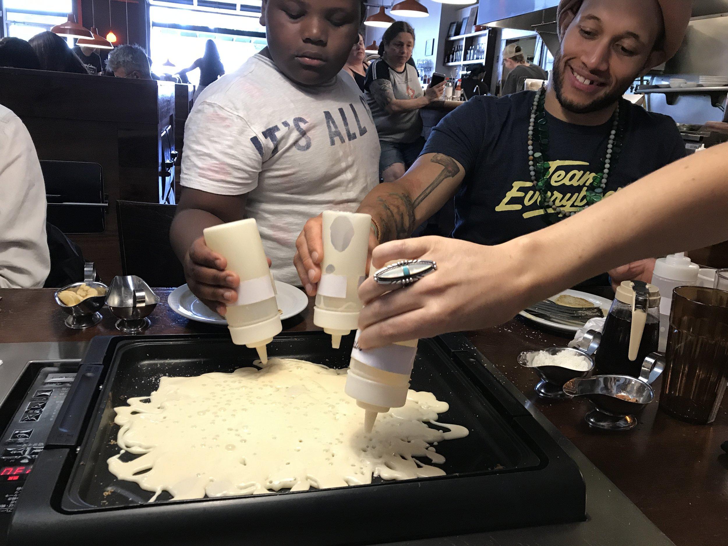 Pancake drawing workshop at Slappy Cakes in SE Portland.