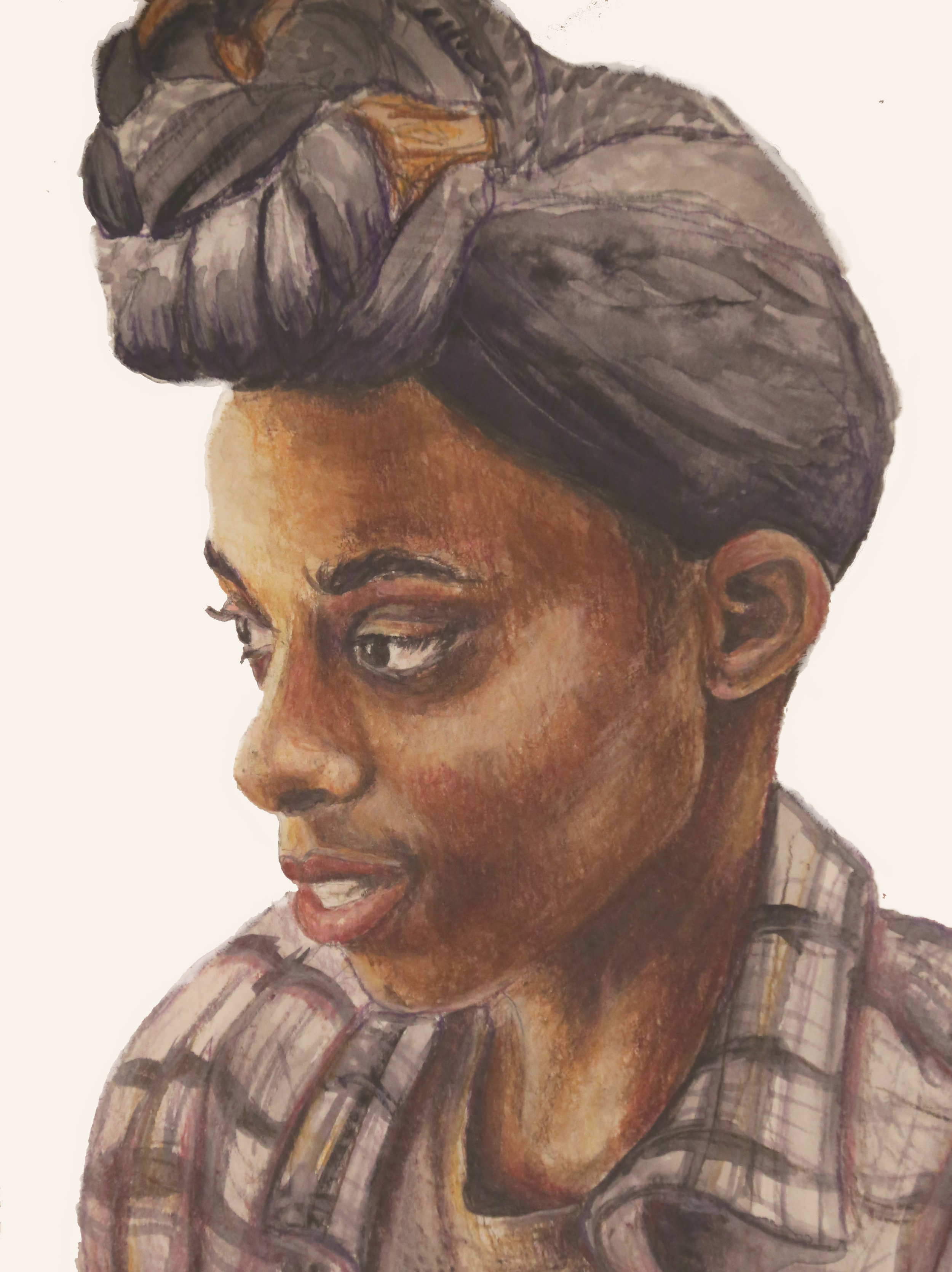 Portrait of Vonnie in watercolor and colored pencil