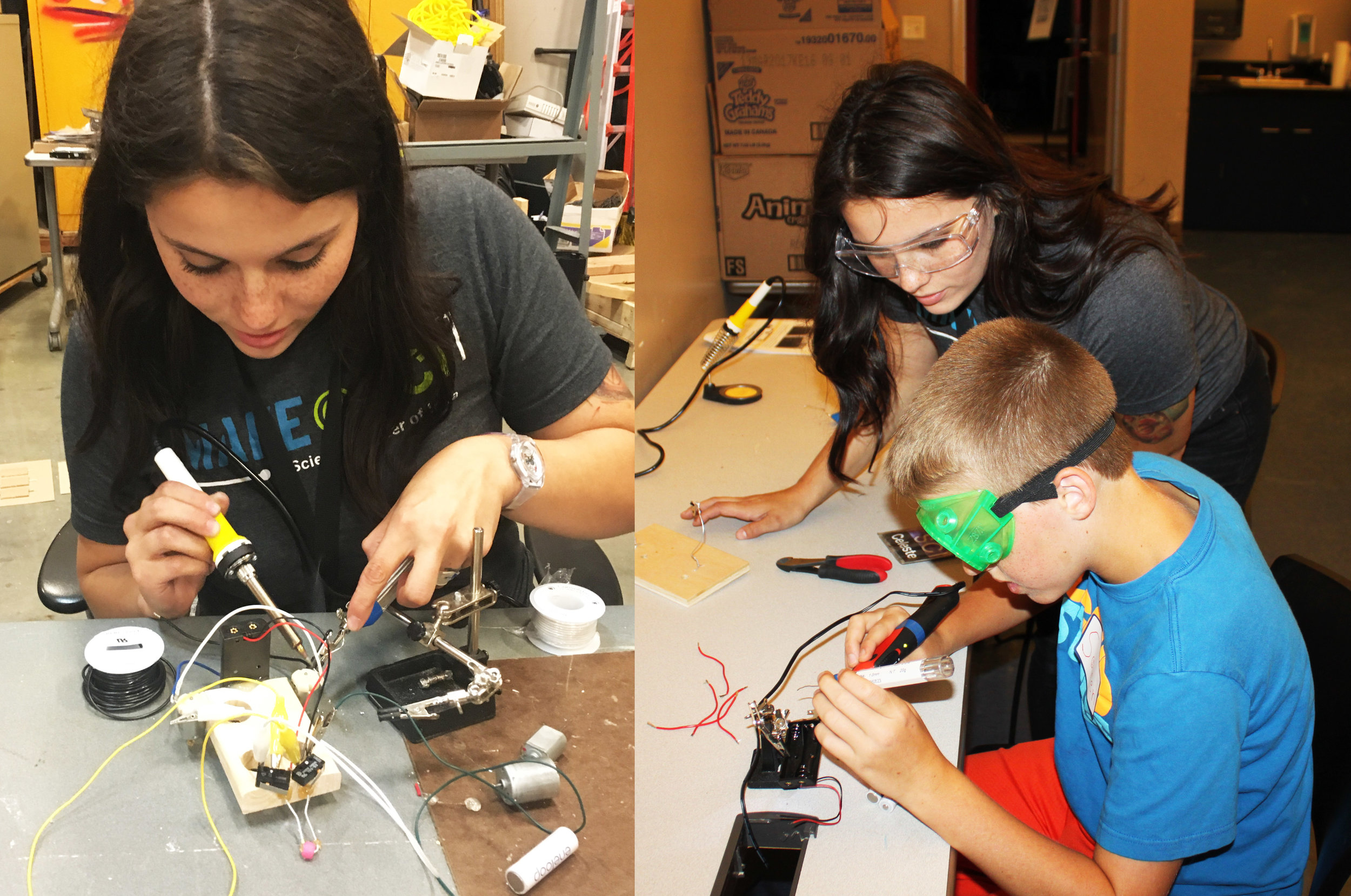Creating and facilitating soldering workshops for middle school students at the Science Center of Iowa