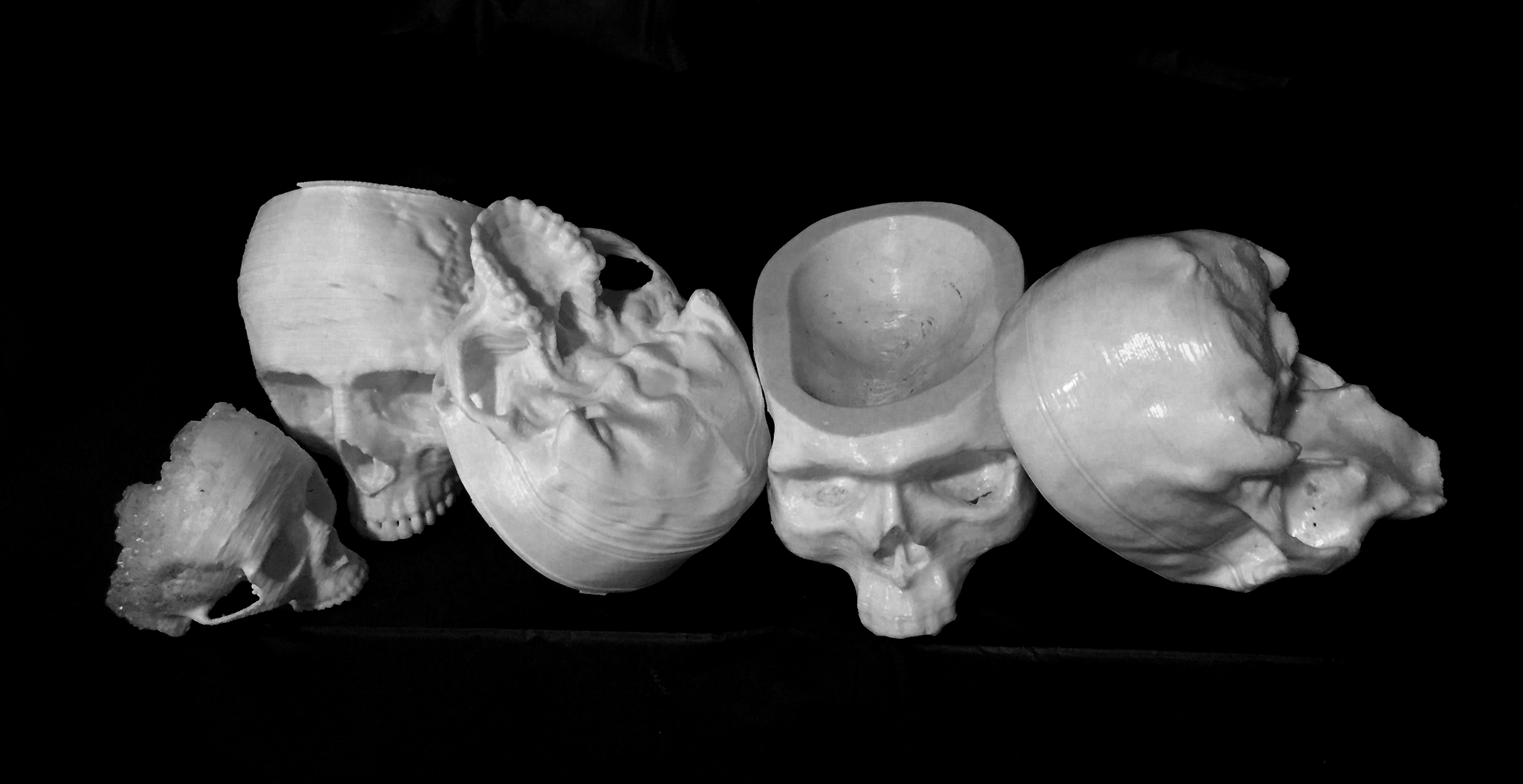 The procession of 3D printed skull prototypes from earliest on the left to latest on the right.