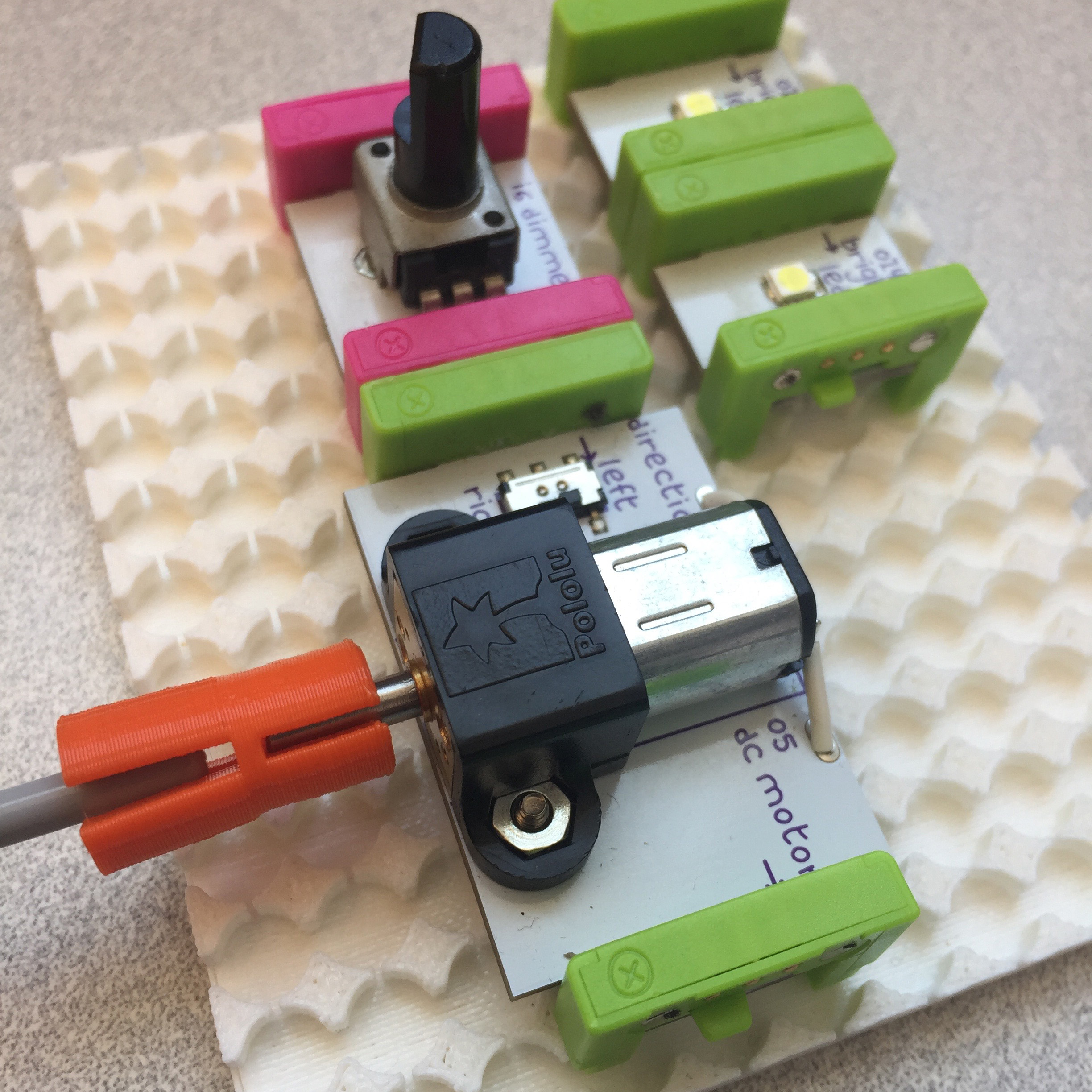3D printed prototyping board for LittleBits and DC motor accessory