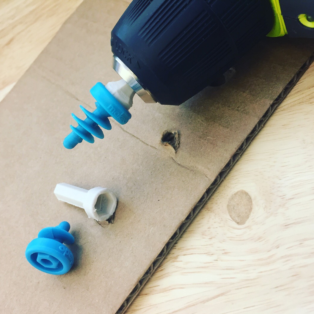 Experiments with 3D printed accessories such as the drill bit pictured here to augment the use of Make-Do cardboard connecting screws.