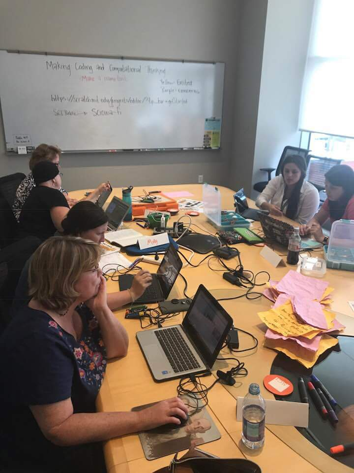 myself with teachers at one of the robotics PD sessions during which we experimented with MakeyMakey, Micro:bit, Hummingbird Robotics Kit, and coding in scratch and make code.