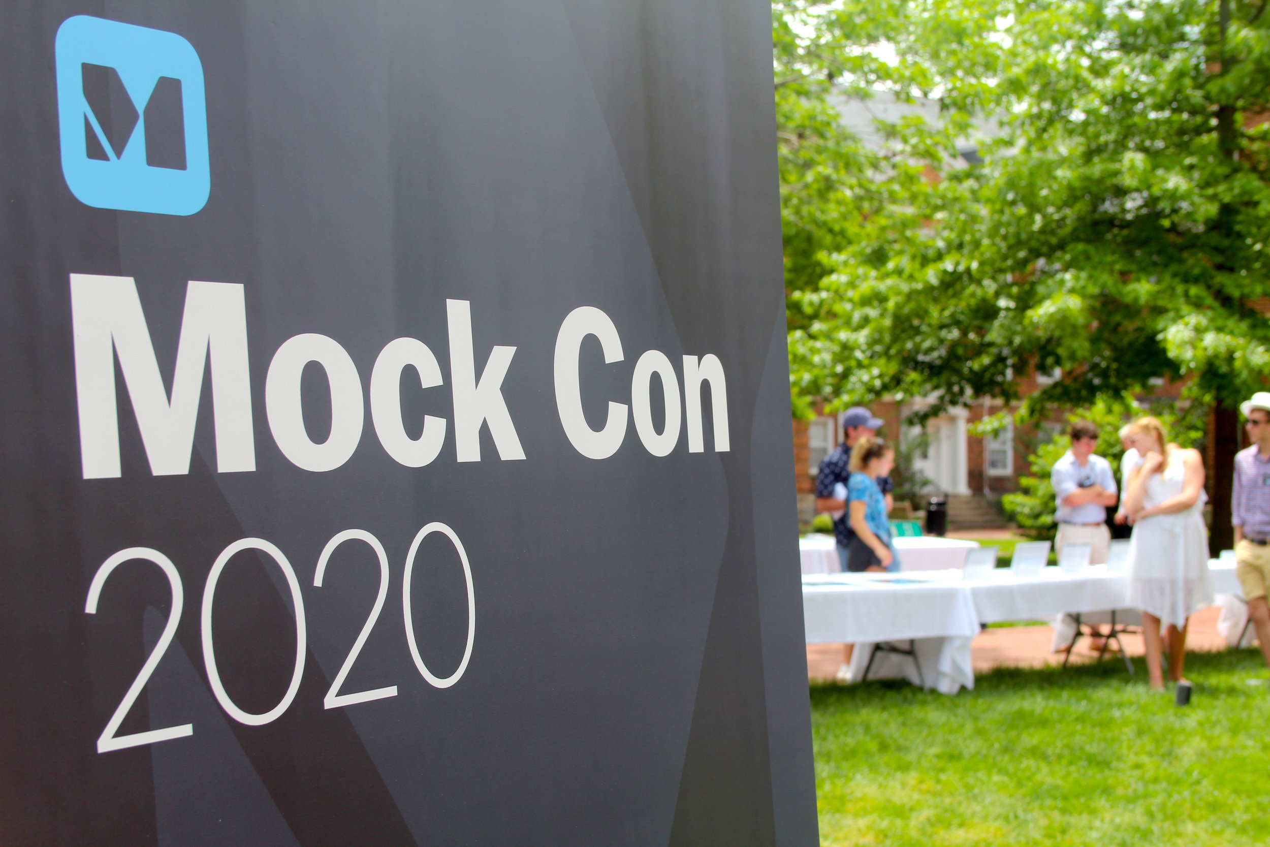 Mock Con signage directs campus visitors to the Silent Auction and Memorabilia Table.