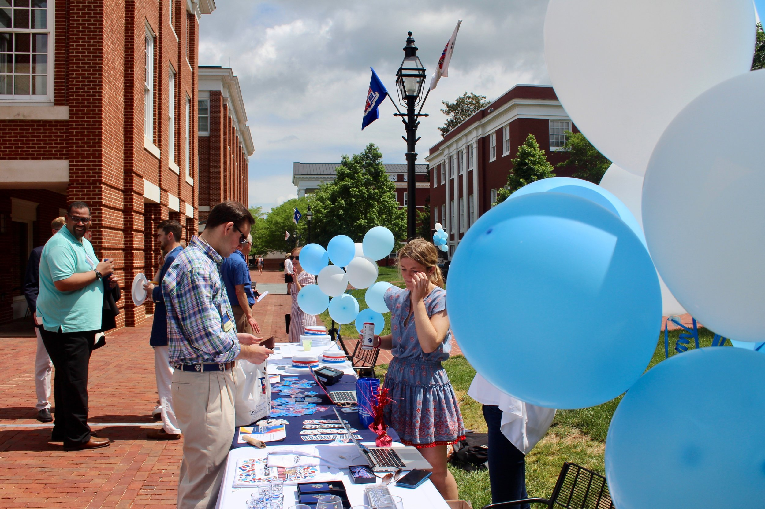 Mock Con students assist alumni at the Memorabilia Table adjacent to the Silent Auction––just a few of the numerous events during Spring Kick-off 2019.