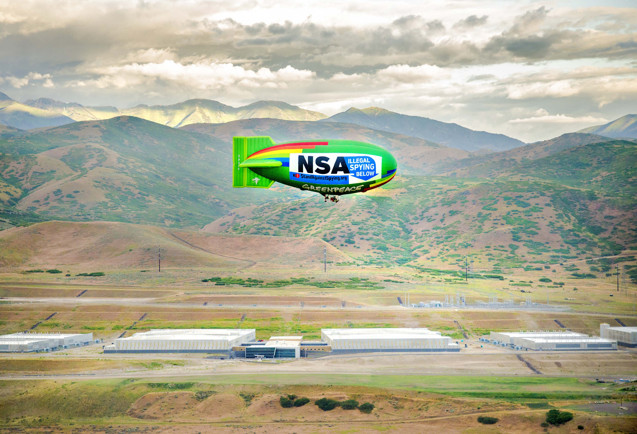 The blimp was launched by the EFF in conjunction with eco-activist organization Greenpeace and the building it was flying over was the NSA Data Center in Utah.