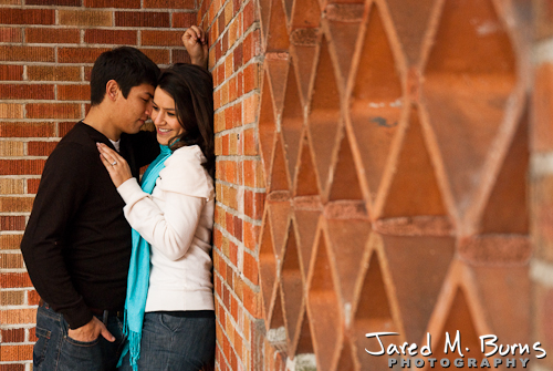 Seattle Engagement Photographer, Jared M. Burns - Couple at brick wall