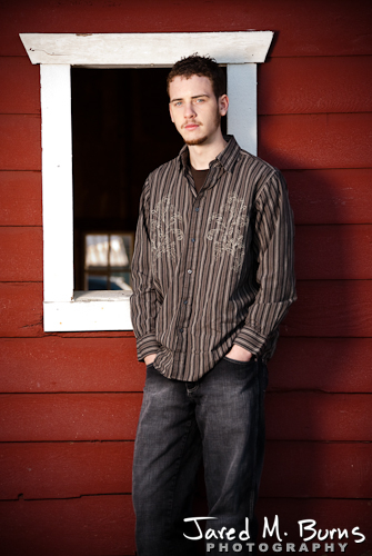 Duvall Cedarcrest Senior Guy Portrait Photographer - John McDonald Park, Carnation - Standing by barn