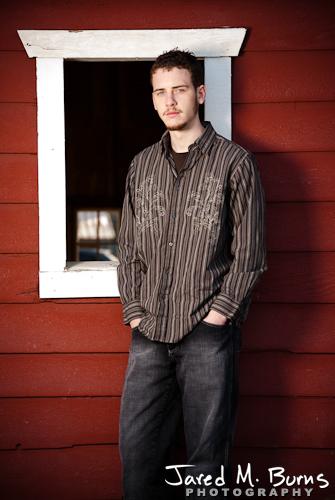 Duvall Cedarcrest Senior Guy Portrait Photographer - John McDonald Park, Carnation - Standing by barn