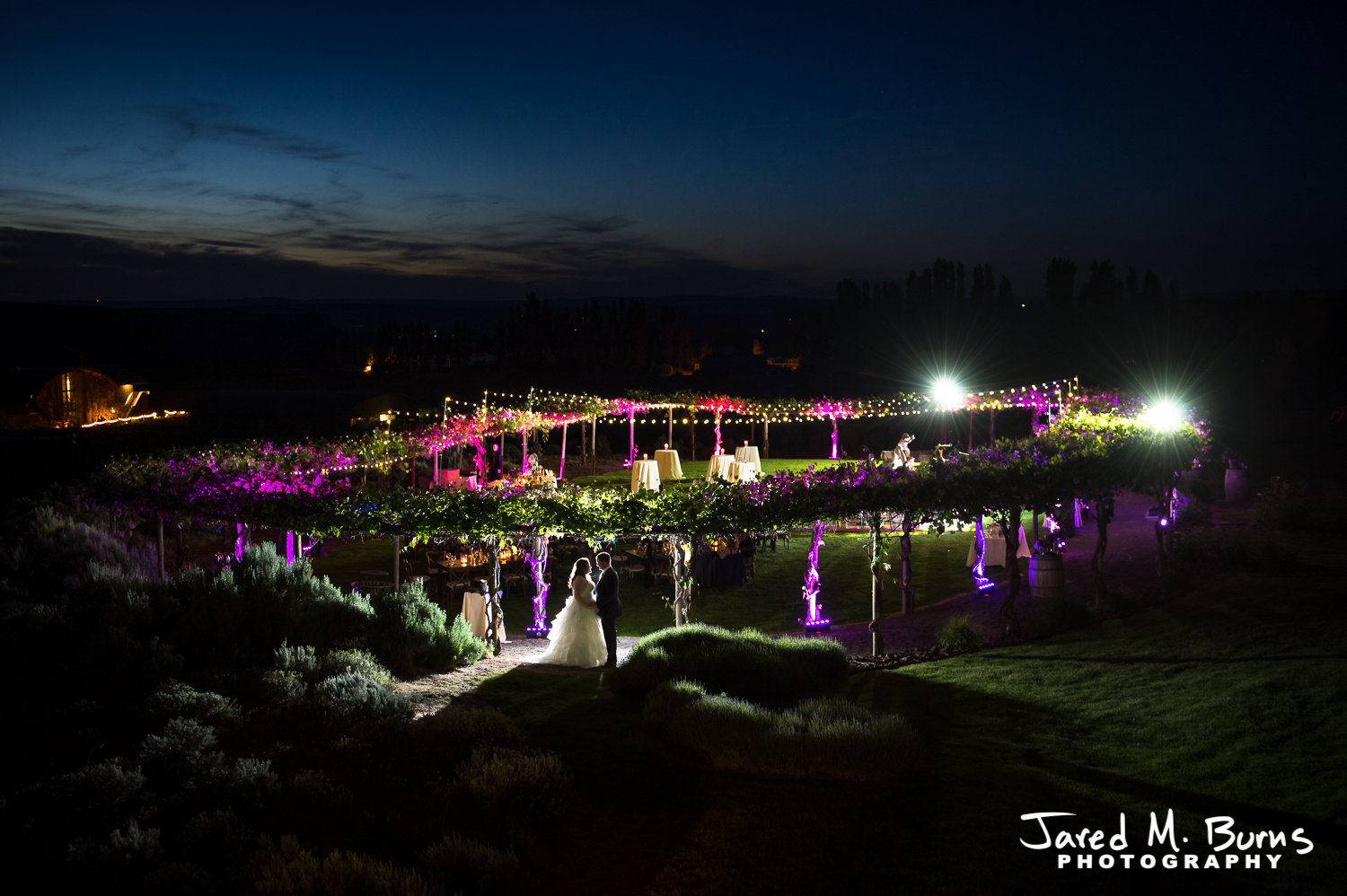 Seattle Wedding Photographer-Jared M. Burns - Cave B Winery at night.jpg