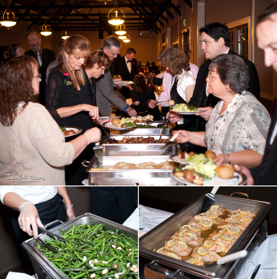 Images if a buffet at the Hidden Meadows wedding venue by Jared M. Burns