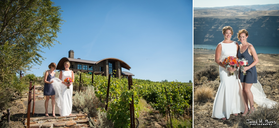 Bride and Maid of Honor at the Cave B Winery and Wedding Venue in Eastern Washington about 2 hours from Seattle