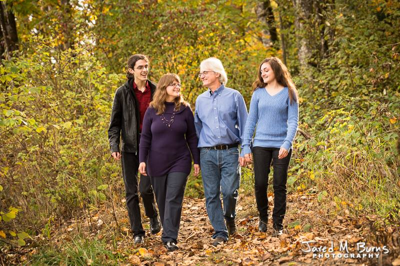 Jared M Burns Photography - Carnation Fall Family Portrait Walking in Leaves.jpg