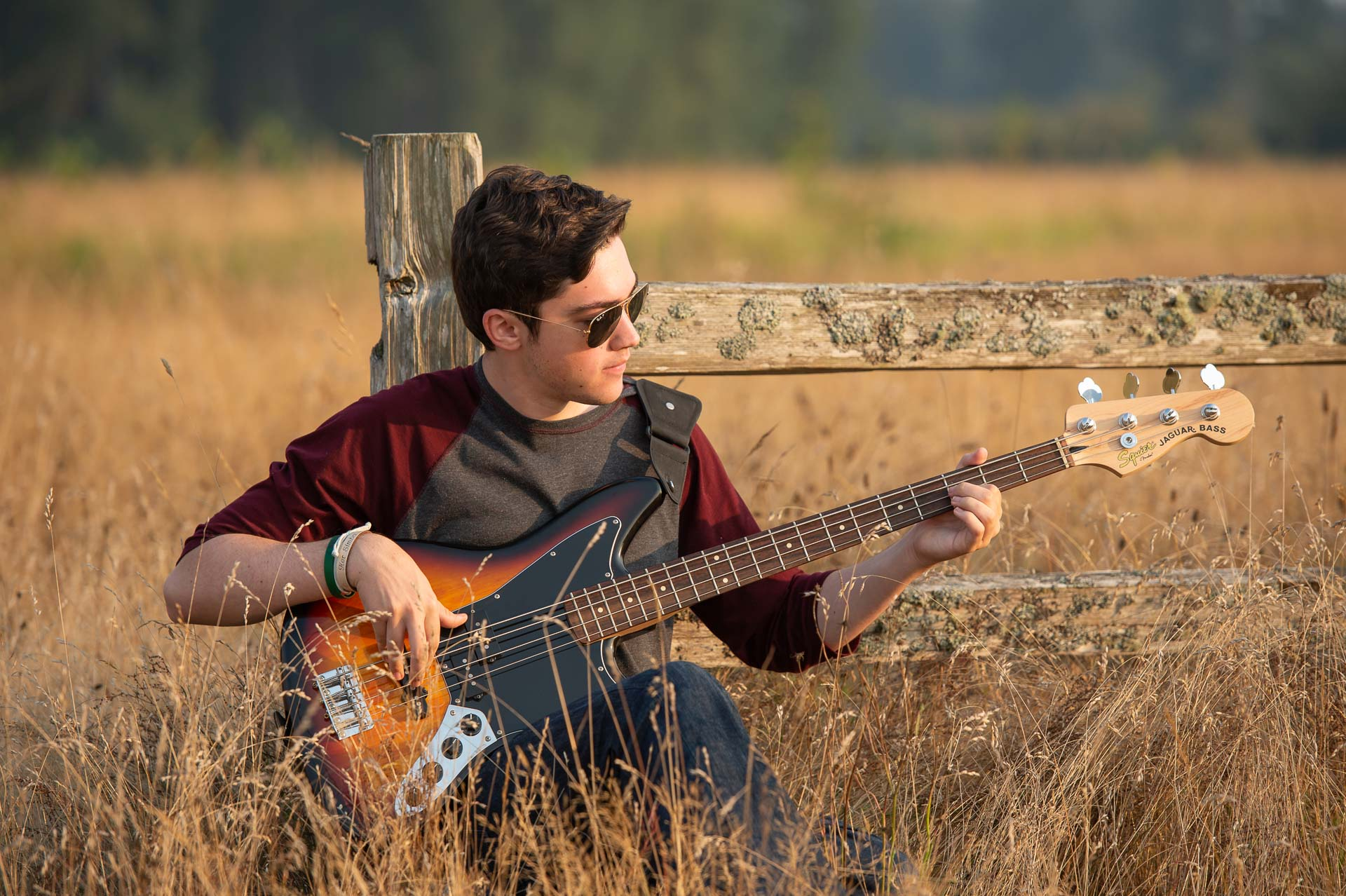 Seattle and Snohomish Photographer-Outdoor Senior Grad Guy with Bass Guitar.jpg
