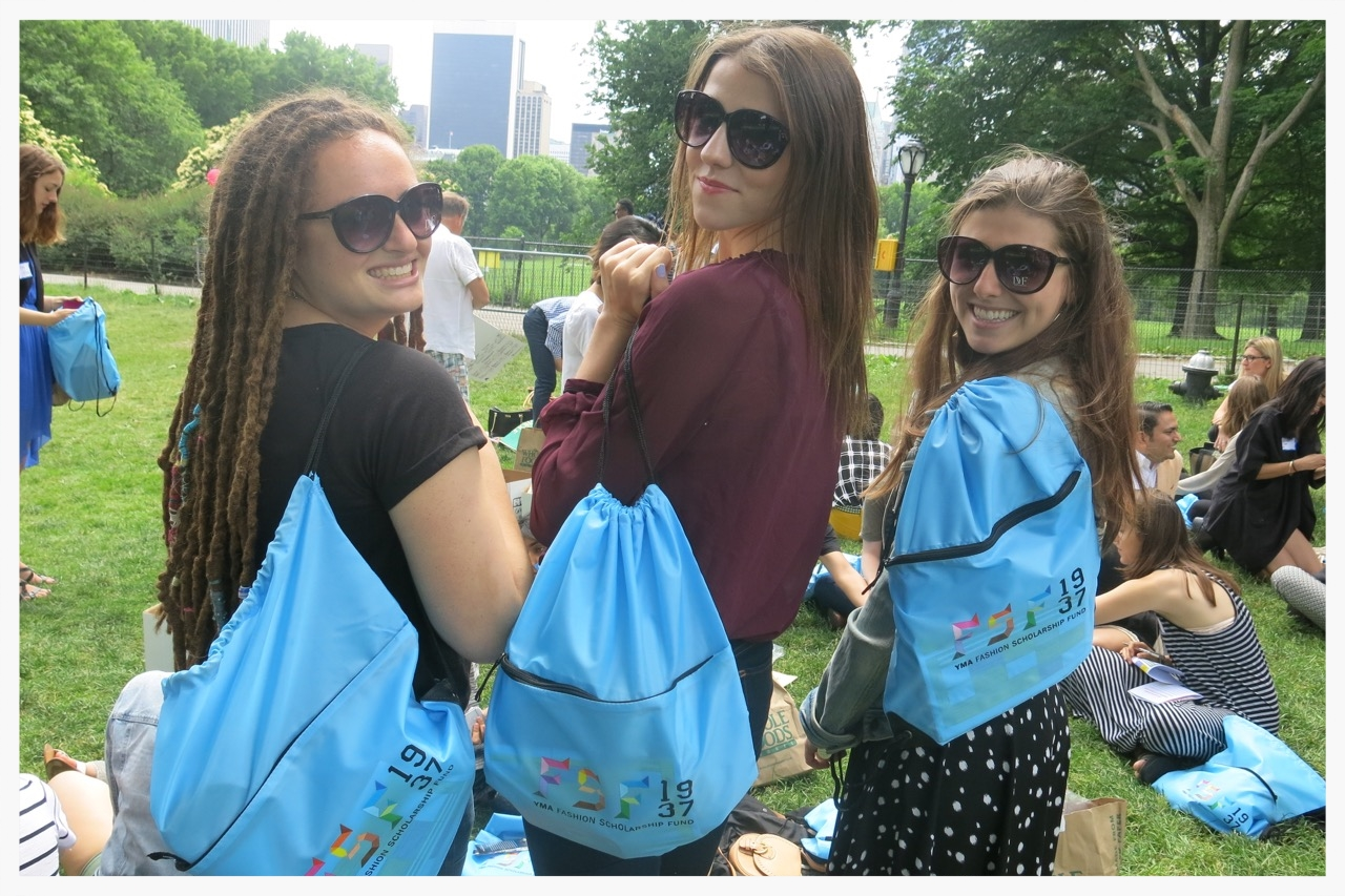 Some of our 2015 scholars sporting their brand new DVFsunglasses and FSF drawstring bags.