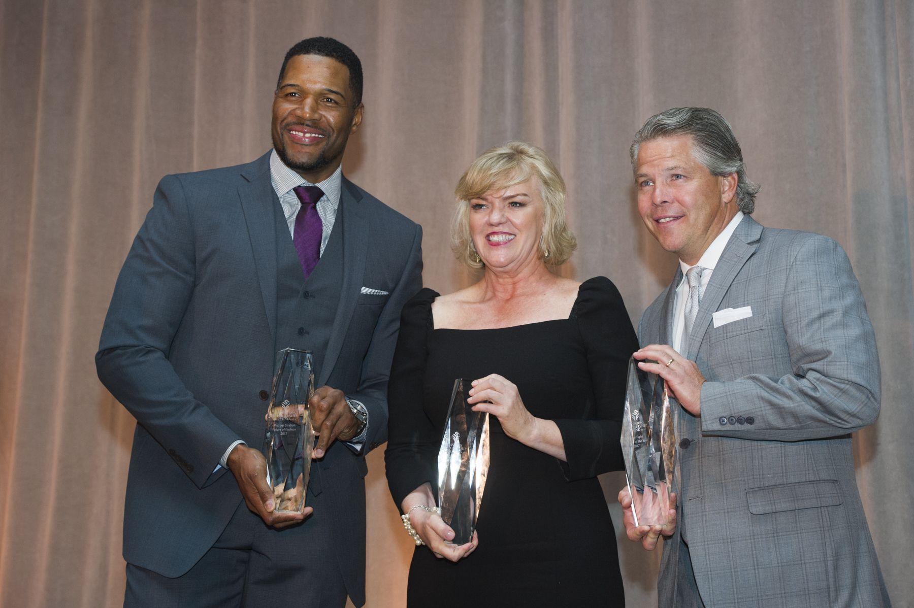 From Left: Michael Strahan, Judy Person and John Tighe receive Honors at 2017 FSF Awards Gala in New York City.
