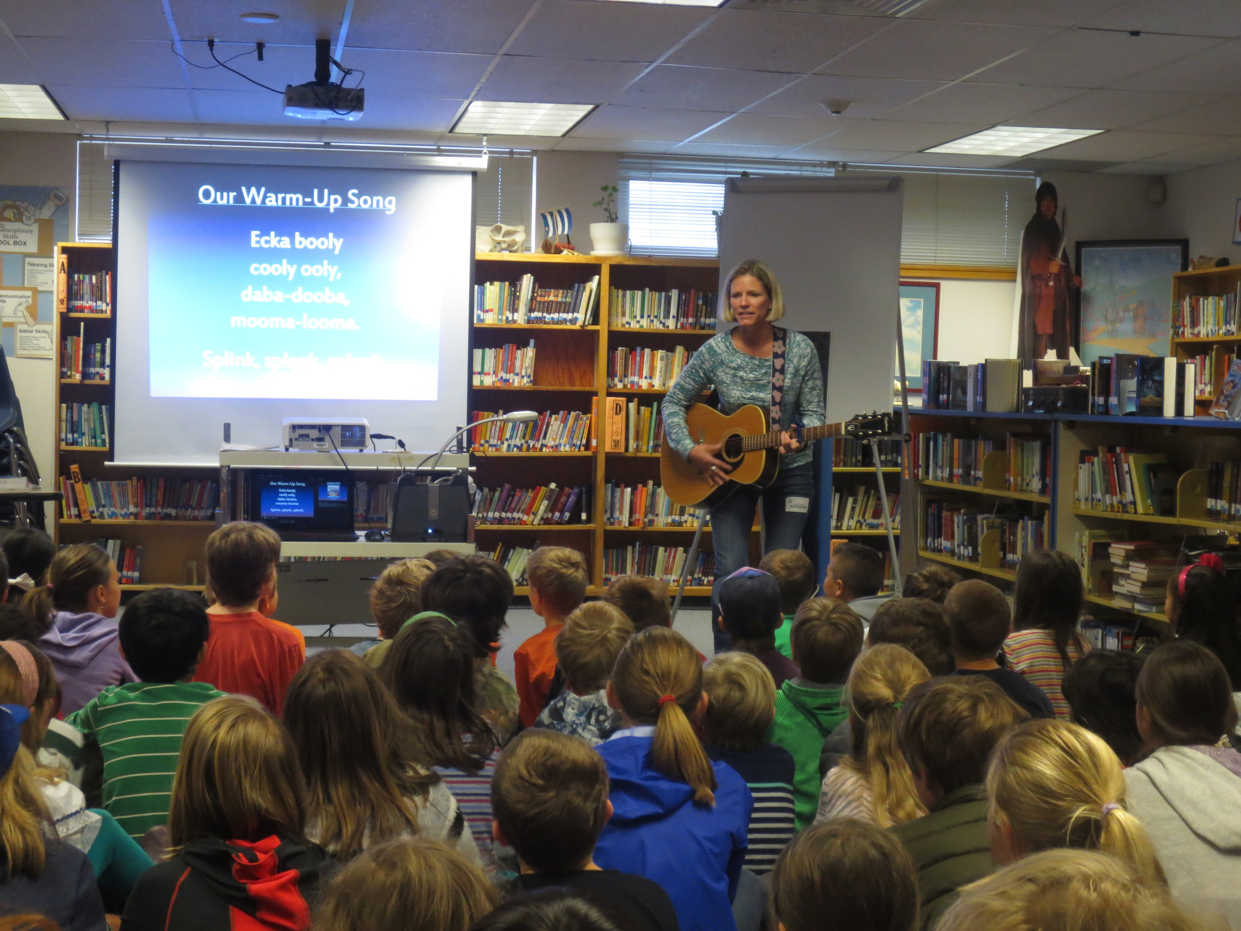 What a joy it was to share my passion for music with the students at Dunn Elementary today. They were thoughtful, curious, attentive and enthusiastic!  I shared some of what it takes to write and publish a book of songs and produce a CD like Campfire Songs for Modern Kids. We talked about the writing process and how making mistakes can be important to the creative process.  And of course we sang songs together too. Today's playlist:  Ecka Booly, Gimme Some More S'mores, Never Hug a Hibble, There's a House in the Middle of the Town.  I look forward to many more school visits like this one!