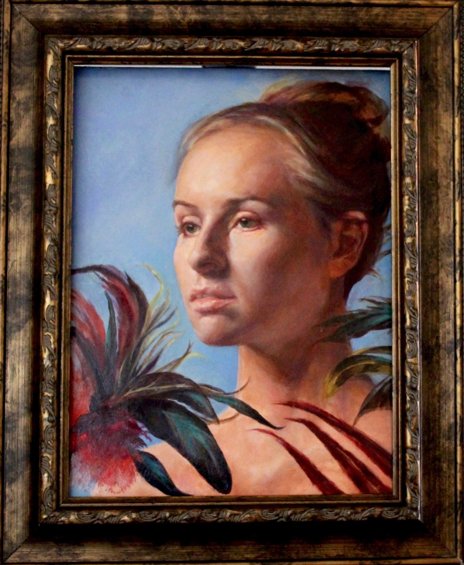 "Linda Dulaney's portrait painting of Feathers chosen as an honorable mention in the ""The Figure Contemporary"" exhibit at the Santa Cruz Art League."