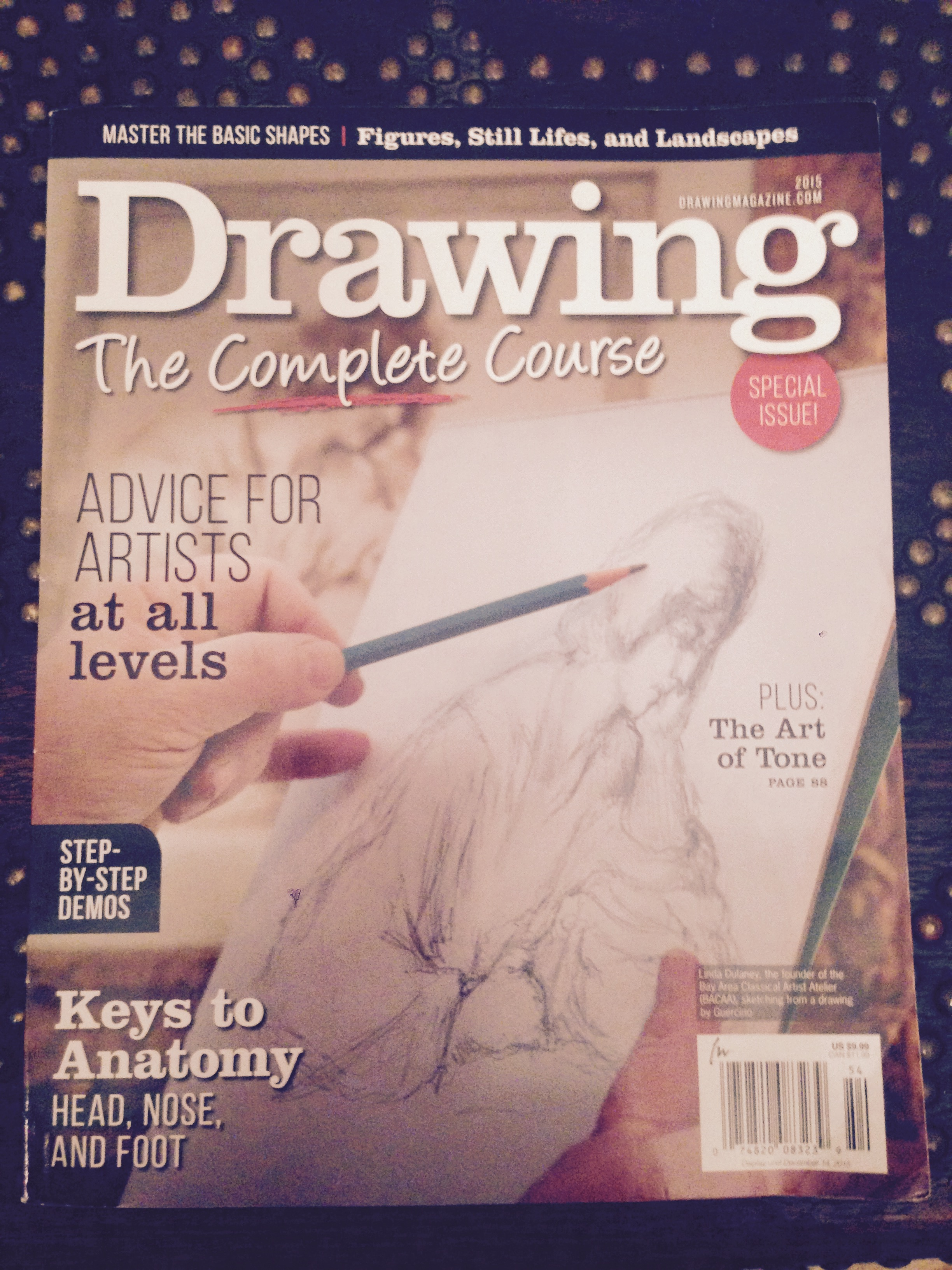 Linda Dulaney's drawing copy of Saint John the Evangelist by Guercino. Front Page Published Artist Drawing Magazine Fall 2015