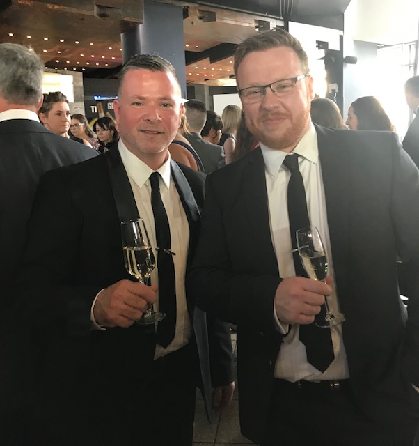 Gary Stewart (L) and his Front of House Manager Paul Kane (R) enjoy the festivities pre-dinner at the Gala Bash held in Titanic Belfast